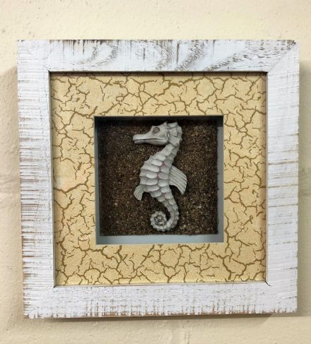 Seahorse In White Wash Distressed Wooden Frame Nautical Wall Decor